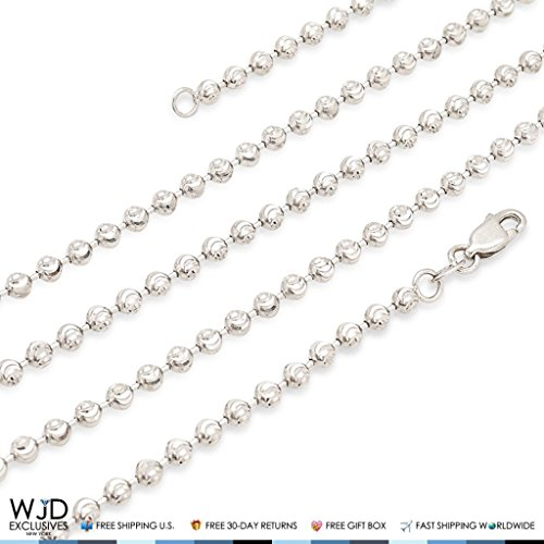 Solid 14K White Gold 2mm Moon Cut Bead Ball Chain Necklace 18