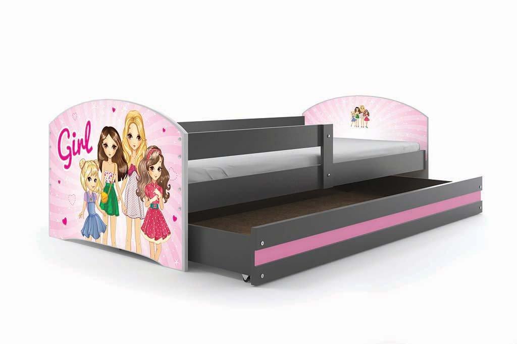 Kinderbett LUKI, Farbe  Grau 160x80cm, mit Matratze, Lattenrost und und und Schublade (PIRATEN) 111eea