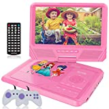 WONNIE 9.5 Inch Kids Portable DVD Player for Car with Games Function, 270° Swivel Screen, USB/SD Card Readers and Built-in Rechargeable Battery ( Pink )