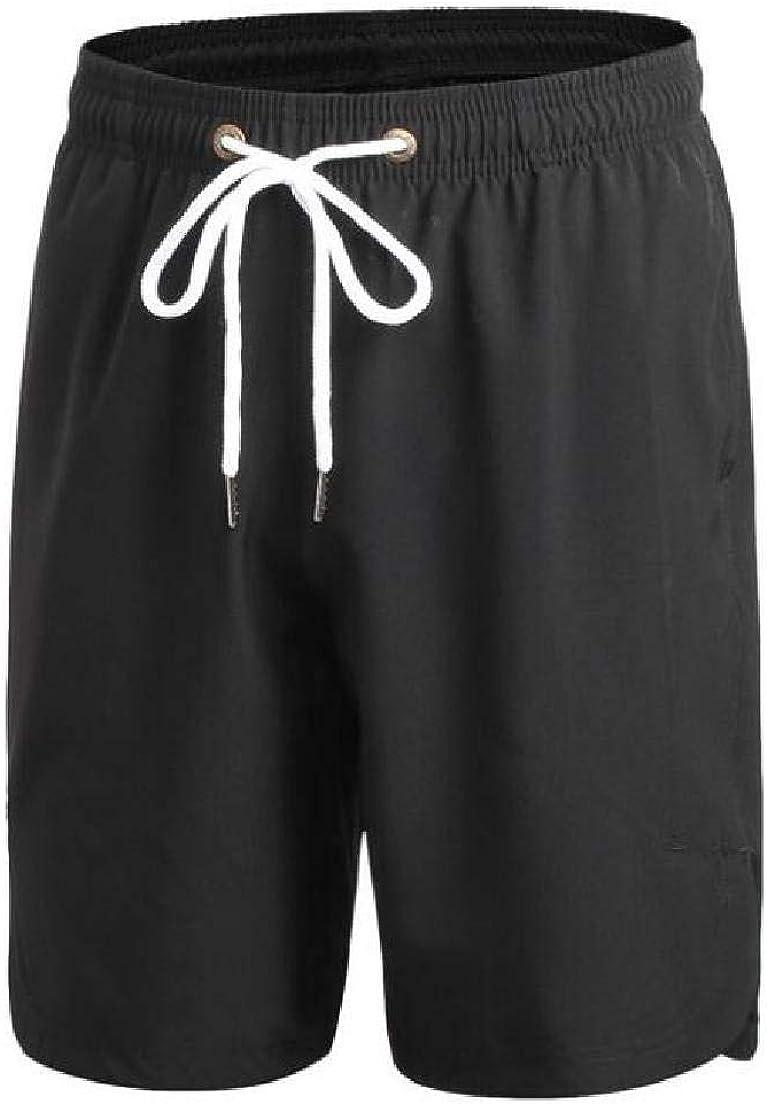 Abeaicoc Mens Quick Dry Printed Drawstring Beach Shorts Boardshort Swim Trunk