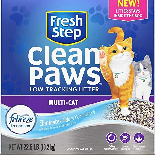 Fresh Step Clean Paws Multi-Cat Low Tracking Cat Litter, Low Dust, Scented, with The Power of Febreze (Best Low Dust Cat Litter)