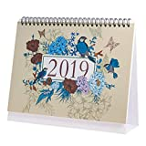 Desk Pad Calendar with Stand,January 2019 to December 2019 Desktop Calendar for Twin-Wire Binding,Monthly Planners for Office,School,Family,9.4''X6.8''