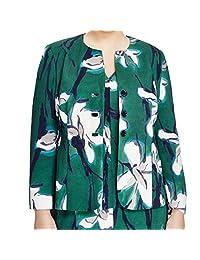 Marina Rinaldi Women's Cupido Floral Blazer 14W / 23 Green