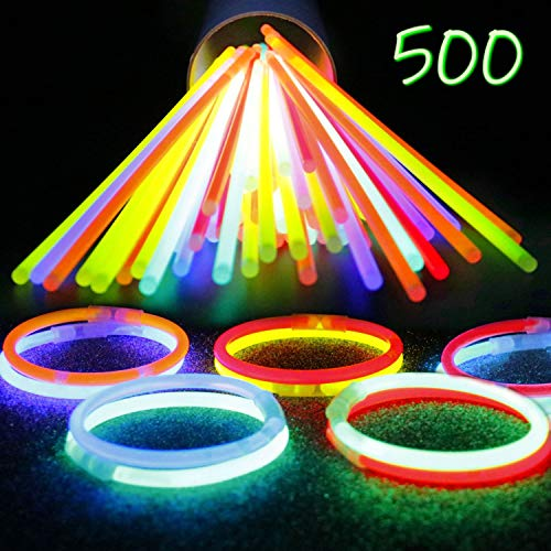 IG Light-Ups 500 Assorted Glow Stick Bracelets | Premium 8 Inch Glow Sticks Bulk Party Pack | Makes Glow Necklaces for Birthday Parties and Halloween No-Candy Treats