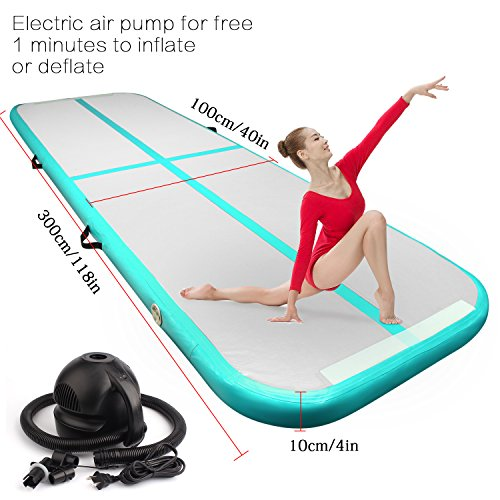 Inflatable Tumbling Gymnastic Air floor Mat with with Electric Air Pump Track Cheerleading for Home Use/Cheerleading/Beach/Park and Water (Green)