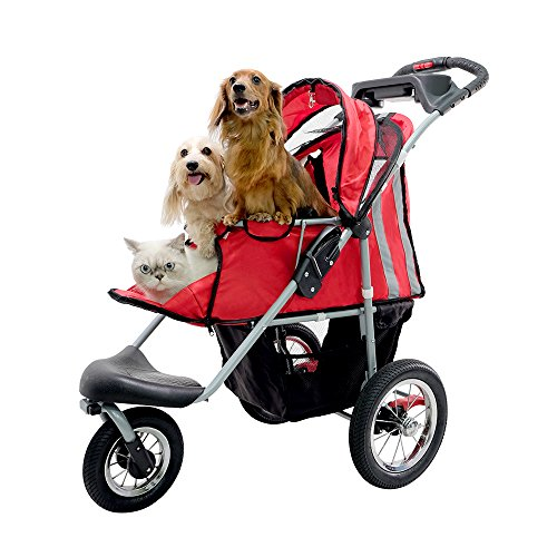 ibiyaya 3 Wheeler Pet Jogger Strollers with Air Filled Tires for Dogs and Cats Red