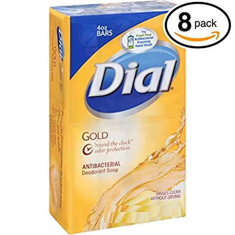 (PACK OF 8 BARS) Dial GOLD Antibacterial Bar Soap. Round the Clock Odor Protection. Leaves Skin Smooth & Radian! Hypo-Allergenic. Great for Hands, Face & Body! (8 Bars, 4oz Each (Dial Bar Gold)