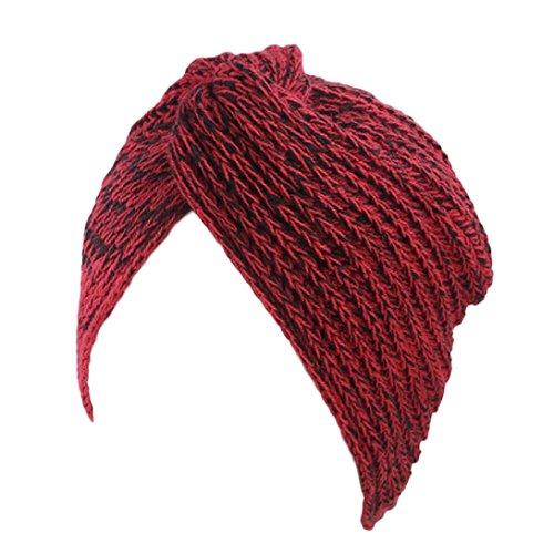 Yezijin Women Ladies Retro Winter Knitting Hat Turban Brim Hat Cap Polyester (C) ()