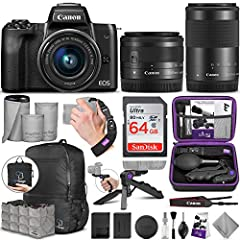DIGITAL GOJA IS A CANON AUTHORIZED DEALER. 1 YEAR LIMITED WARRANTY. Bundle includes: - Canon EOS M50 Mirrorless Digital Camera with 15-45mm lens - Canon EF-M 55-200mm f/4.5-6.3 IS STM Lens - AirBag Packable Bag and Camera Insert - SanD...