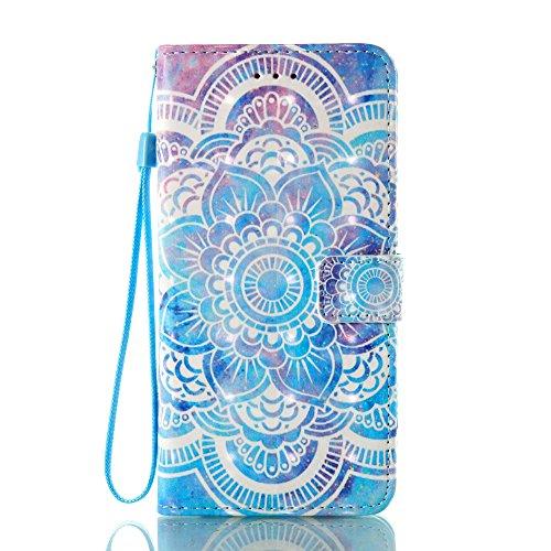 JanCalm for iPhone 8 Plus Wallet Case, iPhone 7 Plus Case, [Wrist Strap] [Kickstand] [3D Painted] Pattern Premium PU Leather Wallet [Card/Cash Slots] Magnetic Flip Cover   Crystal pen (Mandala Flower)