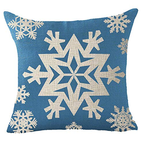 FELENIW Happy Winter Holiday Cool Ice Blue Snowflakes Stars Let It Snow Merry Christmas Blessing Gift Cotton Linen Decorative Throw Pillow Cover Cushion Case 18x18 inches