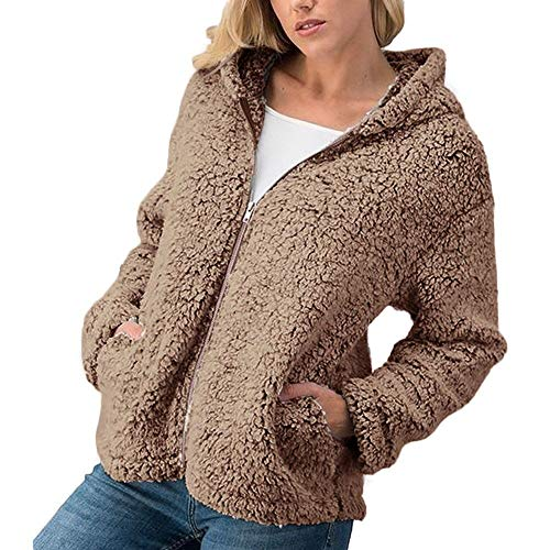 Orangeskycn Womens Casual Warm Zipper Sherpa Jacket Solid Outwear Coat Overcoat (Country Blazer Club)