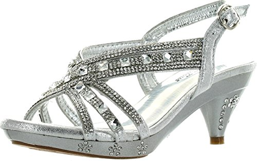 Fabulous Kids Teresa 86K Little Girls Rhinestone Pageant Heels Synthetic Sandals Silver 2 M US Lit]()