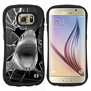 "Pulsar iFace Series Tpu silicona Carcasa Funda Case para Samsung Galaxy S6 , Tiburón divertido Broken Glass Negro Blanco"""