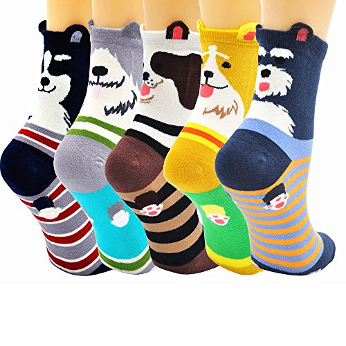 5 Pairs Womens Dog Cotton Sock Cute Cartoon Animals Crew Liner Novelty Socks,US women's shoes size 5-12,Multicolored-1