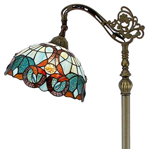 - Tiffany Style Reading Floor Lamp Stained Glass with Green Blue Floral Lampshade 64 Inch Tall Antique Arched Base for Bedroom Living Room Lighting Table Set Gifts S802 WERFACTORY