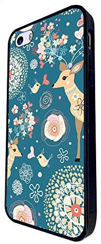 650 - Aztec Gazelle Deer Cool Pattern Floral Design iphone SE - 2016 Coque Fashion Trend Case Coque Protection Cover plastique et métal - Noir