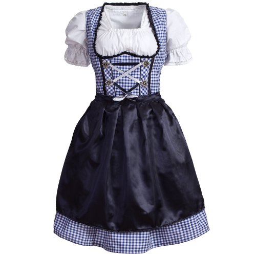 Gaudi-leathers Women's Set-3 Dirndl Pieces Checkered 34 Blue/White