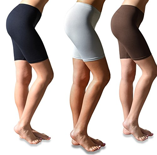 Sexy Basics Womens 3 Pack Buttery Soft Brushed Active Stretch Yoga Bike Short Boxer Briefs (3 Pack- Black/Brown/Silver, Large) ()