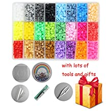 H&W 24 Colors 5mm Perler Beads, Fuse Beads Kits, Tweezers, Peg Boards, Lroning Paper, Parts(WA1-Z1)
