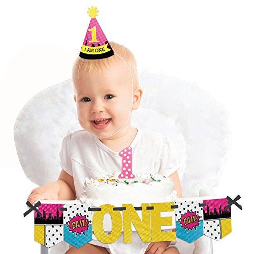 Big Dot of Happiness BAM! Girl Superhero - 1st Birthday Girl Smash Cake Decorating Kit - High Chair (Everything One Girl Cone Hats)