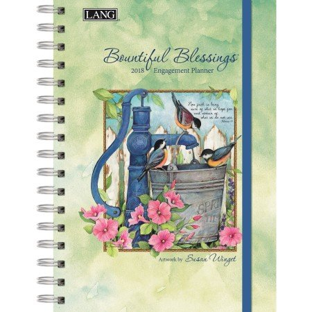 "LANG - 2018 Spiral Engagement Planner - ""Bountiful Blessings"" - Artwork By Susan Winget - 12 Month by Week or Month - 6.25"" x 9"""