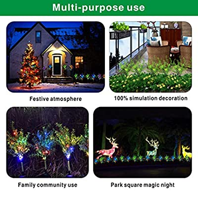 Idefair Solar Garden Lights Tree Outdoor Multi-Color Changing LED Stake Lights Flower for Garden, Patio, Yard and Decoration Solar Flickering Tree Lights (Tree, 2 Pack)