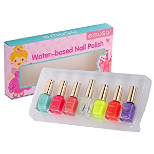 Emosa Nail Polish - Non-Toxic Water Based Peelable Natural, Safe and Chemical Free , Kids Friendly Makeup Set for Little Girls (6 Bright Colors Kit with 1 Top Coat)