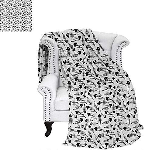 Digital Printing Blanket Funny Fish Bone Pattern Abstract Tattoo Style Artistic Modern Print Summer Quilt Comforter 50