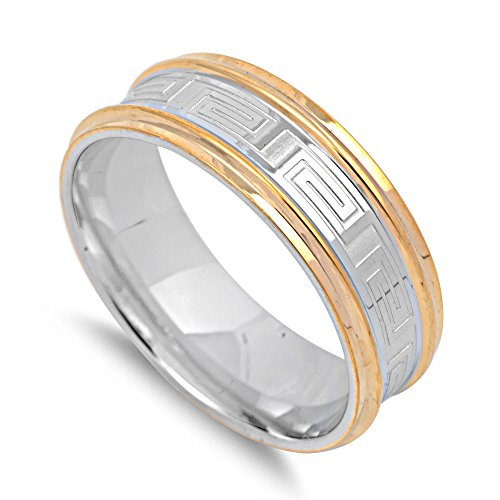 Stainless Steel Twin Row Two Toned Greek Pattern Band Ring Size 10 (Two Row Stainless Steel Ring)