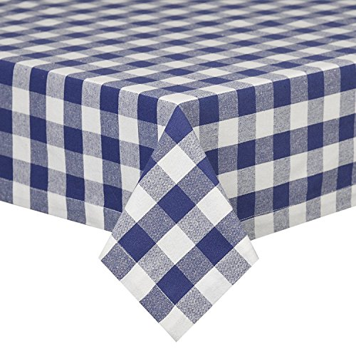 Navy Blue White Tablecloth: Gingham Checkered Design (58″ x 84″ Rectangle)