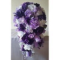 Purple Lavender White Rose Hydrangea Cascading Bridal Wedding Bouquet & Boutonniere
