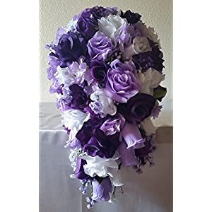 Purple Lavender White Rose Hydrangea Cascading Bridal Wedding Bouquet & Boutonniere 7