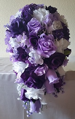 Purple Lavender White Rose Hydrangea Cascading Bridal Wedding Bouquet & (Cascading Rose Bouquet)