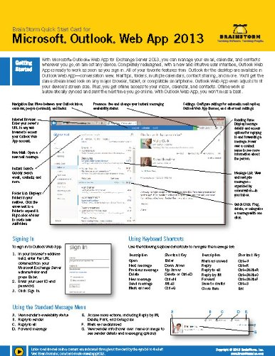 Microsoft Outlook Web App 2013 Training & Quick Tips, Tricks & Shortcuts - 6 Page Tri-Fold by BrainStorm Inc. (2013-05-04) (Microsoft Office Outlook 2013 Tips And Tricks)