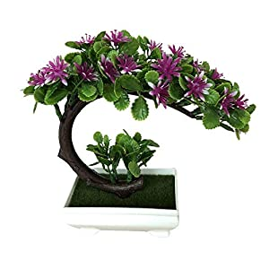 Cherry-Lee Moon-Shaped China Aster Simulation Plant, Potted Artificial House Plants for Home Decor Indoor Desktop Table Ornament Rich Flower Bonsai Plant for Decoration 4