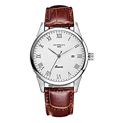 Juniors Boys High Quality Super Thin Quartz Analog Coffee Leather Strap Watch Lovers Watches Ages 15-20 from GXFCO