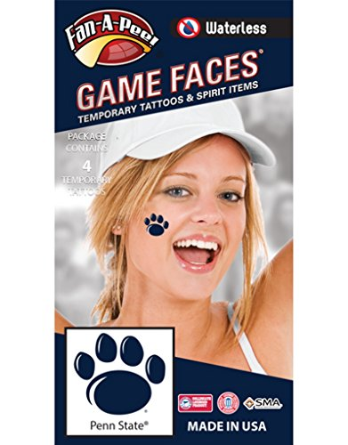 Penn State (PSU) Nittany Lions – Waterless Peel & Stick Temporary Spirit Tattoos – 4-Piece – Dark Royal Blue Paw (Penn State Tattoos)