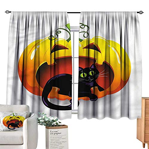WinfreyDecor Pumpkin Sliding Curtains Halloween Theme Black Cat Noise Reducing 63