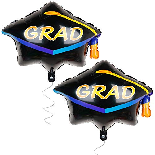 Graduation Cap Balloon, Pack of 2 - Graduation Party Supplies 2019 and Graduation Decorations | Helium Supported Foil Mylar Ballon | Cap Shape Grad Balloon | Ballons for Graduation Party Decoration]()