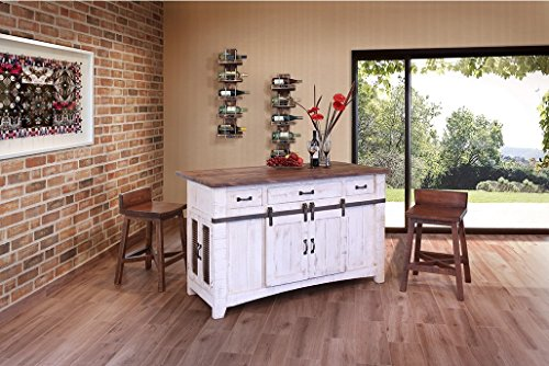 Anton Farmhouse Solid Wood Distressed White Sliding Barn Door Kitchen Island With Storage And Rolling Casters by BurlesonHomeFurnishings (Image #2)
