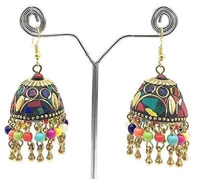 Satyam Kraft Afghani colouful Jhumka Earring Jewellery designer