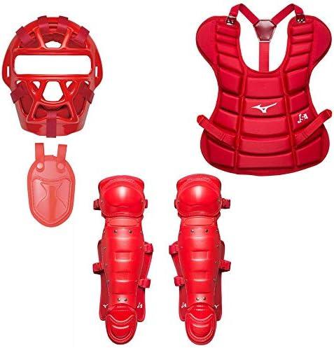 MIZUNO(ミズノ) ジュニア ソフトボール キャッチャー防具4点セット (1DJQS140/2ZQ129/1DJPS510/1DJLS510) レッド(62) F