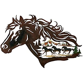 Metal Western Horse Shadow Wall Art, Brown
