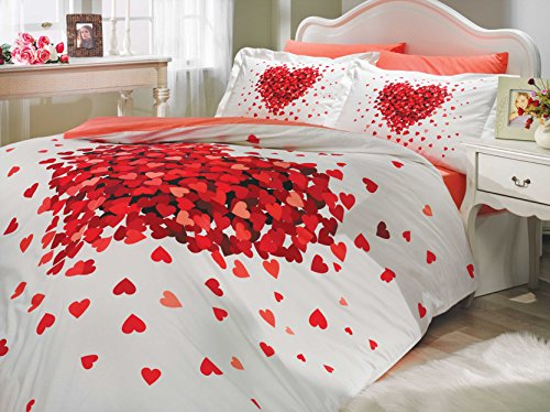 LaModaHome Queen Bedding Set Heart Love Themed with Duvet Cover Romantic Design, 100% Cotton Ranforce Fabric, 4 Pieces, Red White