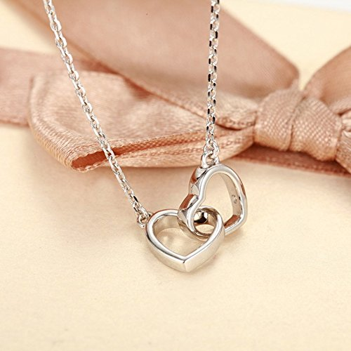- Generic Official_flagship_store_Kewpie_ love 925 silver Double heart _go_hand_in_hand_embracing_ heart necklace pendant women girl Korean fashion students _deals
