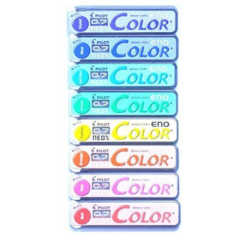 Pilot Color Eno Neox Mechanical Pencil Lead, 0.7 mm, 8 Color Set (Japan Import) by Office 4 All