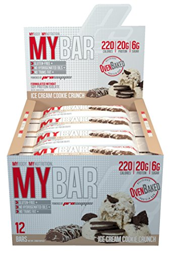 Pro Supps MYBAR Delicious Oven Baked Protein Bar (Ice Cream Cookie Crunch), 20g Protein, Only 6g Sugar, Gluten-free, No Trans Fat, Healthy on-the-go Snack. 12 Count, Net WT 1.94 ounces