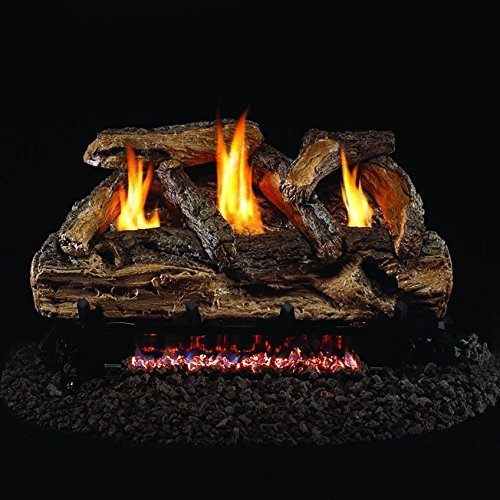 Peterson Real Fyre 20-inch Split Oak Log Set With Vent-free Propane Ansi Certified G9 Burner - Variable Flame Remote -