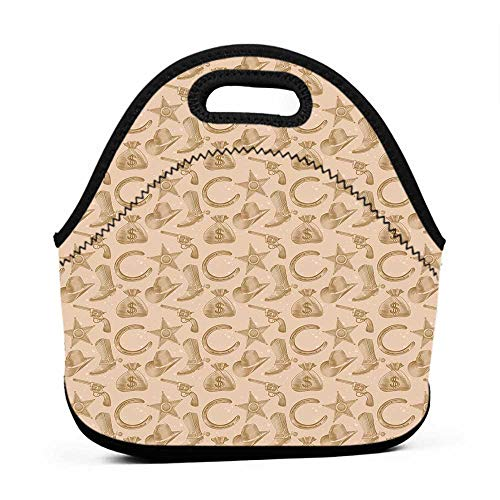Western Engraving (Convenient Lunch Box Tote Bag Western,Engraving Style Star Boot and Money Revolver Line Pattern Worn Out Dotted Backdrop,Tan Brown,rectangle lunch bag for girls)